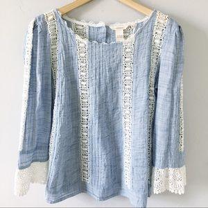 Sundance Boho Peasant Top W/ Crochet Lace Detail